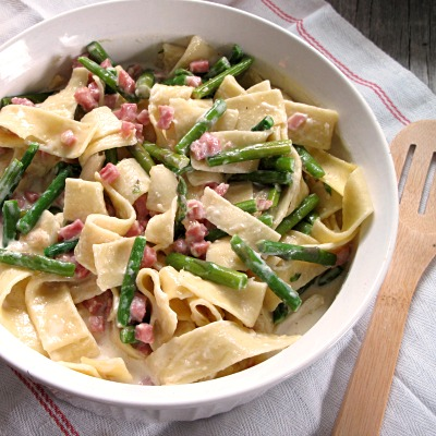 Leftover Ham and Asparagus Country Pasta