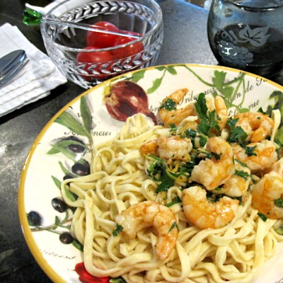 Shrimp Scampi on Country Pasta
