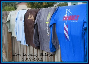 Live Locally shirt history
