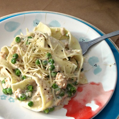 Creamy Country Pasta with Salmon and Peas